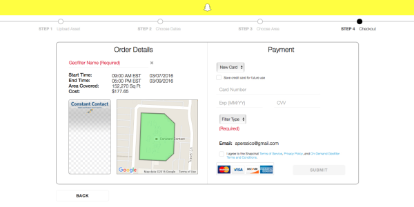payment information for snapchat geofilter