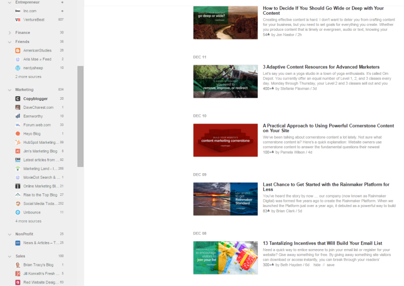 feedly dashboard example