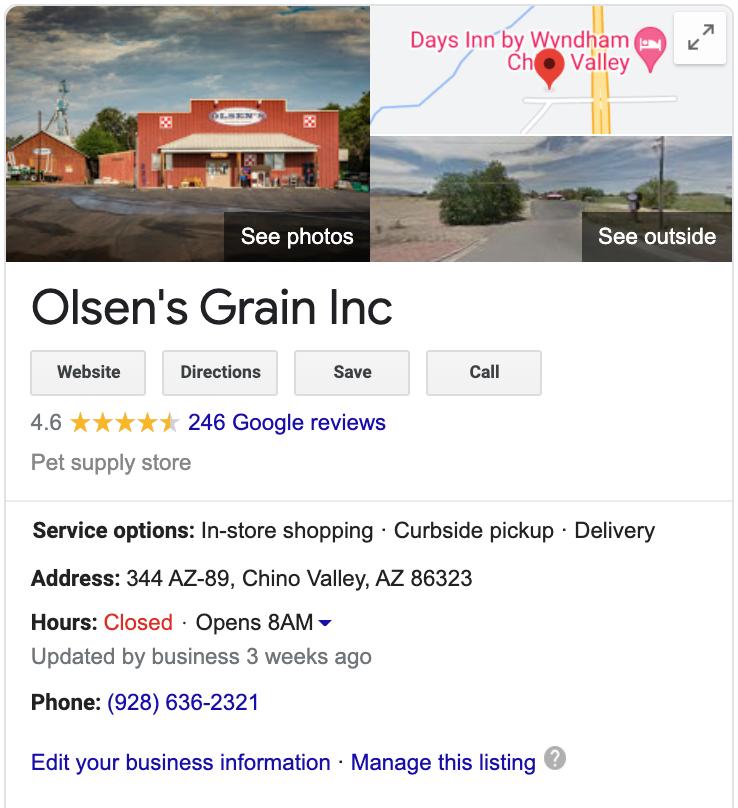 Screen shot of Olsen's Grain Chino Valley Google My Business Listing